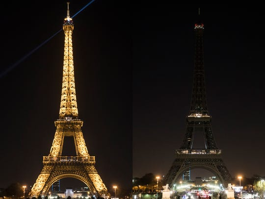 A composite photo shows a view on the Eiffel Tower