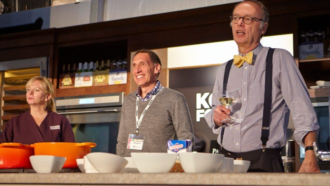 Jack Bishop (middle) and America Test Kitchen members Christopher Kimball and Bridget Lancaster (left) are back for more Kohler Food & Wine Experience.