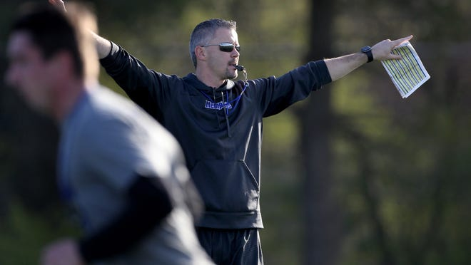 University of Memphis football coach Mike Norvell at spring practice.