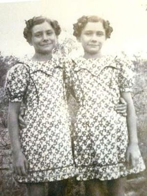 The Holley twins, Charlene and Christene (but which is which?), pictured in a 1937 photo when they were 10. The sisters this past week celebrated their 90th birthdays.