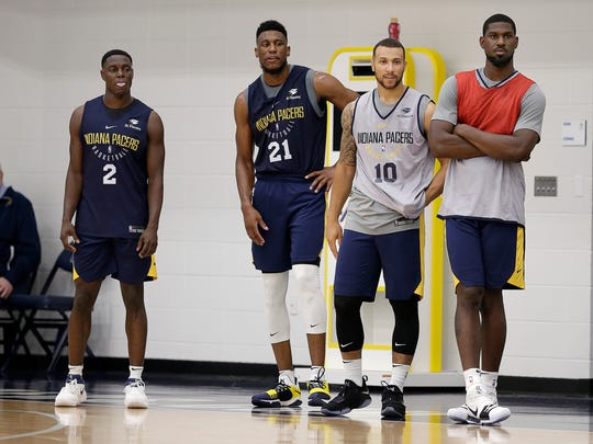 Indiana Pacers Darren Collison,left, Thaddeus Young