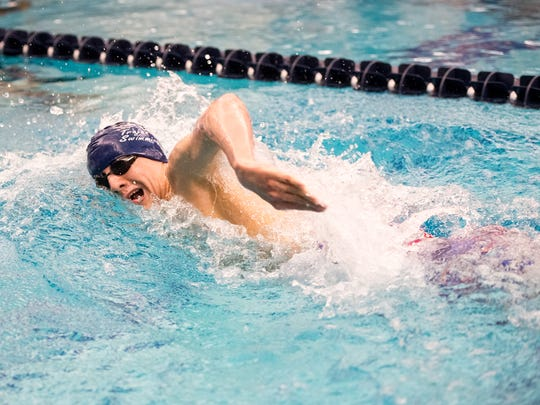 Chambersburg's Jacob Greenwood competes in the boys 500 yard freestyle during the PIAA Boys AAA Swimming Championships at Bucknell University on March 18, 2017. Greenwood placed sixth.