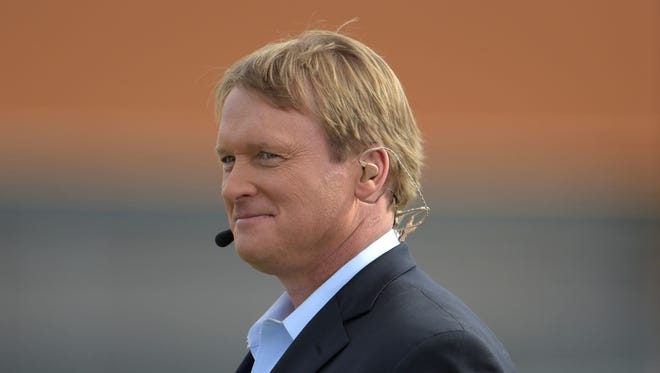 ESPN broadcaster and Tampa Bay Buccaneers and Oakland Raiders former coach Jon Gruden at Team Irvin practice at Scottsdale Community College in advance of the 2015 Pro Bowl.