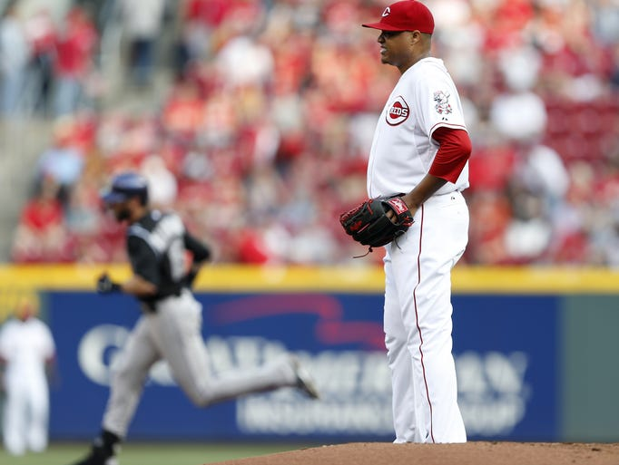Cincinnati Reds starting pitcher Alfredo Simon (31) gave up a lead off home run to the Colorado Rockies center fielder Charlie Blackmon (19) at Great American Ball Park.