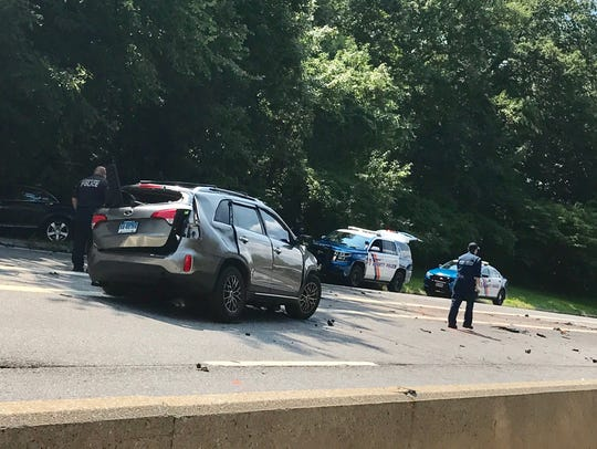 The scene from a crash on the Hutchinson Parkway northbound