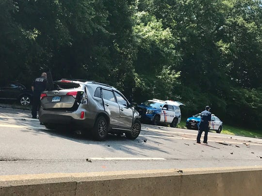 The scene from a crash on the Hutchinson Parkway northbound that occurred at 5 a.m. Sunday morning. As of 2 p.m., the road was still closed.
