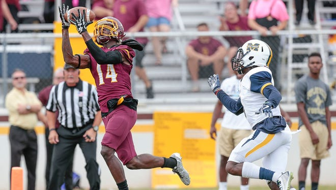 Pearl River wide receiver K.J. Breland catches a touchdown pass during action against Mississippi Gulf Coast last week at Poplarville.