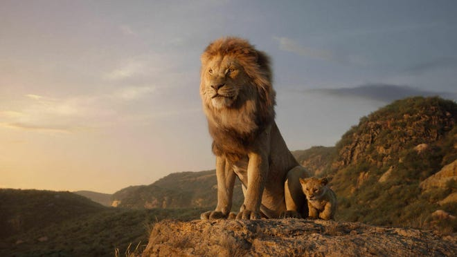 """Mufasa, left, voiced by James Earl Jones, and young Simba, voiced by JD McCrary, in a scene from """"The Lion King."""" The movie is playing at Regal West Manchester, Frank Theatres Queensgate Stadium 13 and R/C Hanover Movies."""