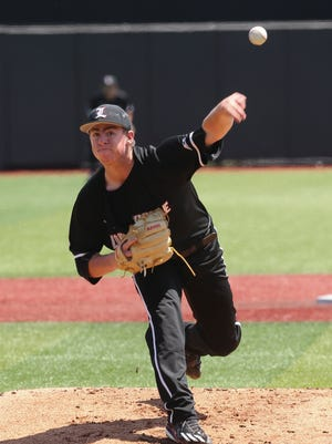 U of L pitcher Brendan McKay (38) delivers a pitch against UK during the super regional at Patterson Stadium.June 10, 2017