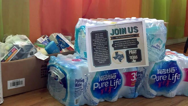 Inner Champion Nutrition at 1212 S. Columbus Road had boxes filled with supplies headed for the flood victims in Texas following the aftermath of Hurricane Harvey.