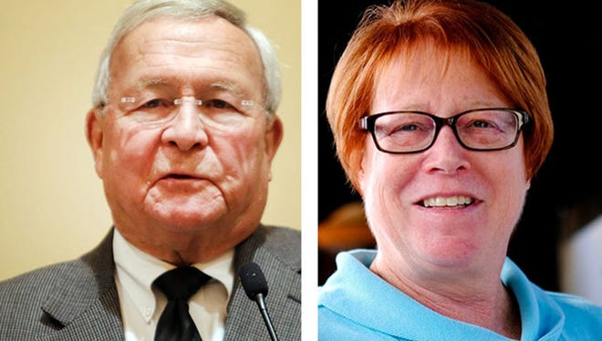 """Oakland County Executive L. Brooks Patterson, left: """"I think the public appreciates candor."""" Ex-state Rep. Vicki Barnett: """"We can't keep building Oakland County as if it's the 1950s, '60s and '70s."""""""