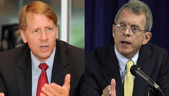 Richard Cordray, left, and Mike DeWine will be among the candidates at the Ohio Soapbox at the Ohio State Fair this Saturday.