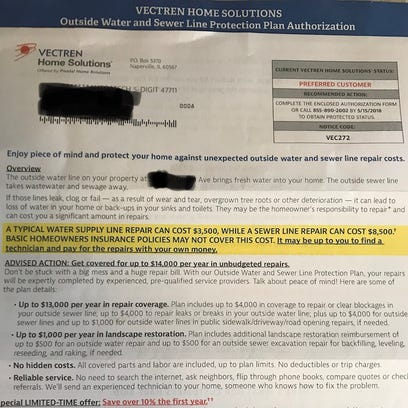 """A letter from """"Vectren Home Solutions"""" offers protection"""