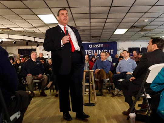 Republican presidential candidate, New Jersey Gov. Chris Christie speaks during a town hall campaign stop at the American Legion, Tuesday, Feb. 2, 2016, in Epping, N.H. (AP Photo/Jim Cole)