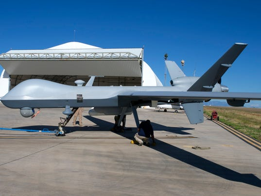 Predator B Unmanned Aircraft At The Fort Huachuca US Army Installation In Sierra Vista Ariz Drone Was About To Take Off For A Surveillance Mission