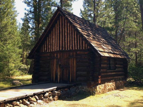 A 1930s cabin built by Civilian Conservation Corps is on display in the state park.