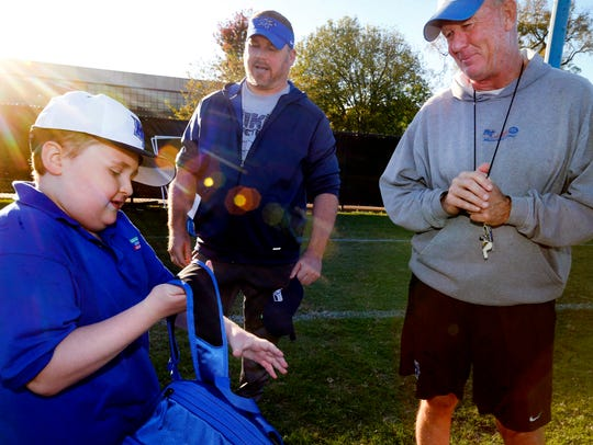 Colton Sheets visits the MTSU football team during