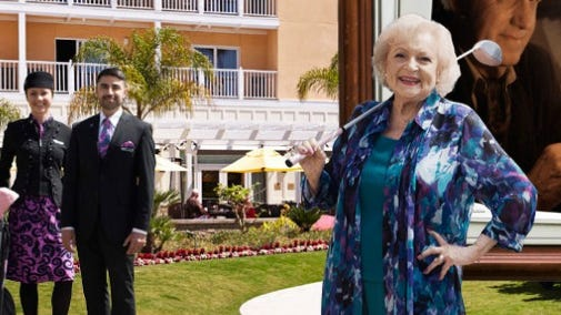 Betty White also appears on a promotional website for Air New Zealand.