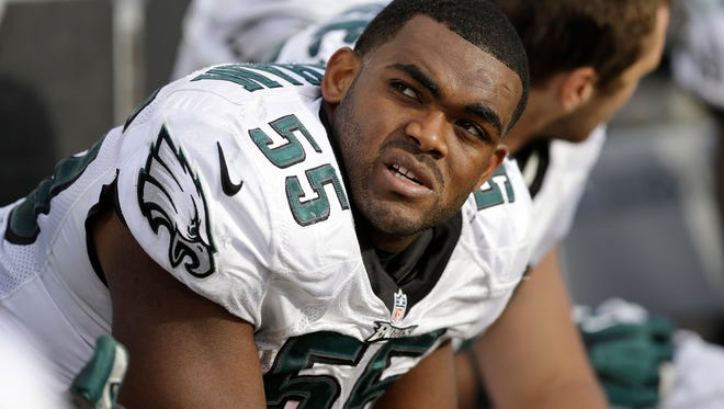 Philadelphia Eagles linebacker Brandon Graham (55) sits on the bench against the Oakland Raiders during the second half of an NFL football game in Oakland, Calif., Sunday, Nov. 3, 2013. (AP Photo/Ben Margot)
