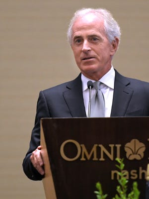 Sen. Bob Corker speaks at Operation Stand Down Tennessee's 7th Annual Heroes Breakfast at Omni Hotel in Nashville on Friday, August 18, 2017.