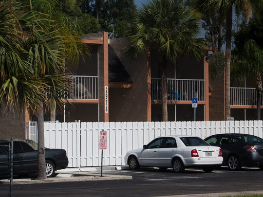 Scene from an apparent murder-suicide at the Pebble Courts Apartments at Hanson and Jackson Street in Fort Myers.  A woman was found dead in a breezeway.  A man was later found dead.  Members of the Fort Myers Police SWAT were also called to the scene.