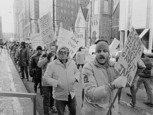 Steel workers from Youngstown, Ohio, protest outside the United States Steel building in Pittsburgh in 1979.