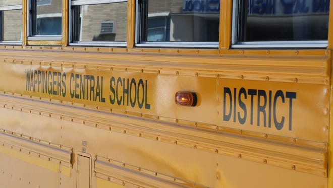 A Wappingers Central School District bus waits outside John Jay High School on May 9, 2018.
