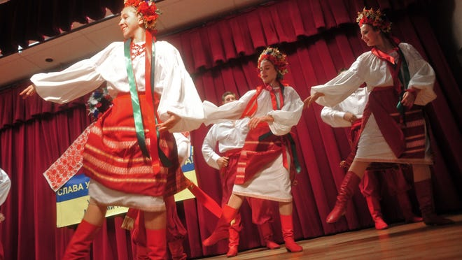 Members of the Iskra Dance Academy perform at the Ukrainian American Cultural Center's   fifth annual fall festival in Hanover on Saturday.
