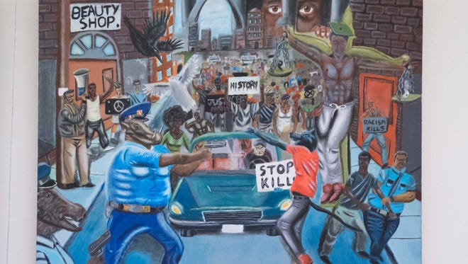 This painting by Missouri high school student David Pulphus was on display in the Capitol until Republicans protested about its portrayal of police officers as pigs. The Architect of the Capitol determined the painting violated standards and had it removed. A lawsuit was to be filed Tuesday challenging that decision.