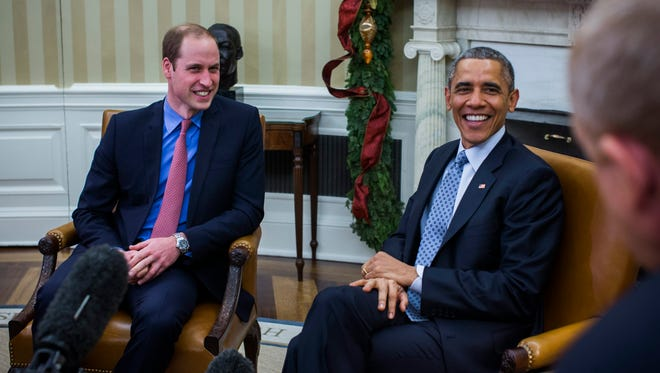"""Prince William chatted with President Obama in the Oval Office on Dec. 8. Obama praised his """"good work"""" in combating illegal trade in wildlife. Will said he was so caught up in excitement when Prince George was born, he forgot to ask if the baby was a boy or girl."""