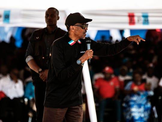 Rwandan President Paul Kagame gives a speech during