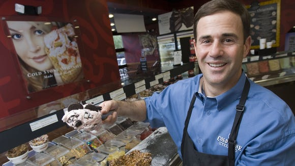 DIGITAL -- 6/6/06 -- Cold Stone 135659 -- Doug Ducey (cq) is the CEO and Chairman of the Cold Stone Creamery (cq). He is seen at a Cold Stone Creamery store (cq) in Scottsdale, Ariz., (cq) on Tuesday, June 6, 2006. (Photo by David Wallace / Arizona Republic)  (12/3/06 Mug) (1/13/07 Ducey... is all smiles as his company is being recognized with an Entrepreneur award) (5/11/07 Doug Ducey, CEO of Cold Stone Creamery, will retain his role in the merger between Cold Stone Creamery and Kahala Corp.)