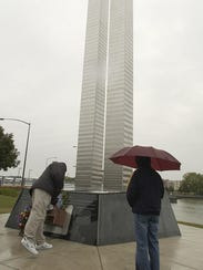Visitors paused at the Sept. 11 Memorial in downtown