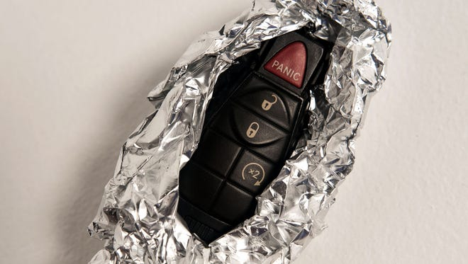 To protect a car from theft during the day, wrap the fob in aluminum foil.