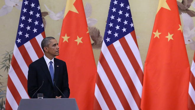 President Obama and Chinese President Xi Jinping at news conference on Nov. 12.