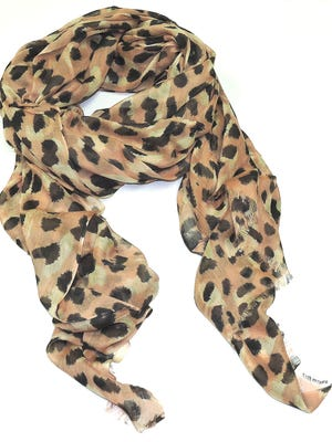 This leopard print scarf is a fund-raiser for the Shades of Pink Foundation, which provides emergency financial assistance to people with breast cancer.