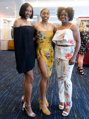 University of Tennessee track and field athletes, from left, Cidaea Woods, Lenysse Dyer, and Maya Neal at the Volscars on Monday, April 16, 2018.