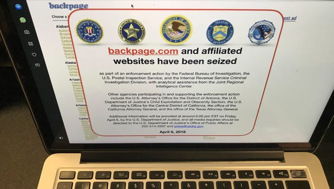 A screen shot of the website Backpage.com is seen April 6, 2018, in Los Angeles. Federal law enforcement authorities are in the process of seizing Backpage.com and its affiliated websites.