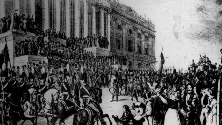 This print shows the inauguration of William Henry Harrison on March 4, 1841.