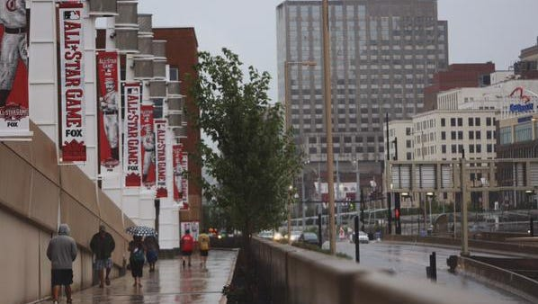 Rain outside Great American Ball Park on Monday afternoon.