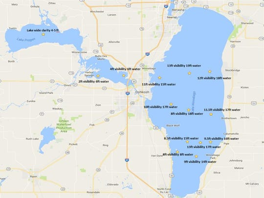 Water clarity depths on Lake Winnebago and the Upriver Lakes range from about eight feet near Fond du Lac to 13 feet between Oshkosh and Neenah.