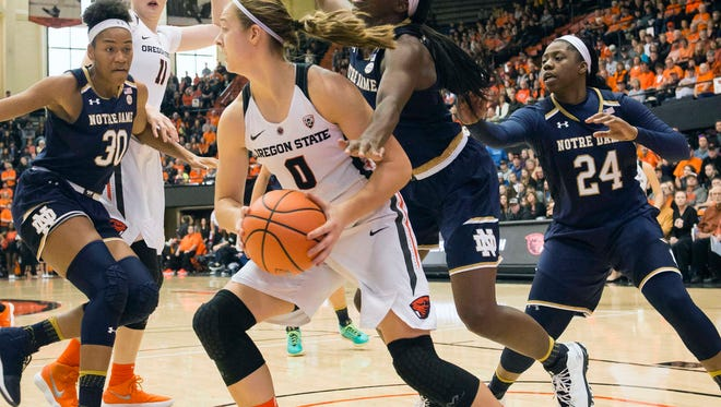 Oregon State sophomore Mikayla Pivec (0) is playing point guard on a full-time basis for the first time since seventh grade.