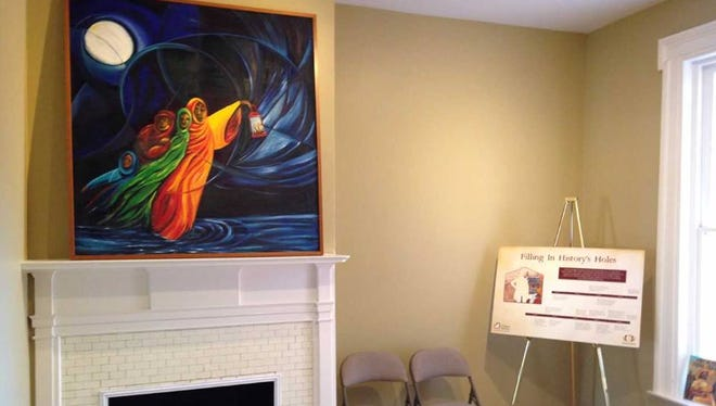"""Many of Ophelia Chambliss' pieces deal with history themes. Every time you go to York's Goodridge Freedom Center, for example, you see her """"Wade in the Water,"""" a 2004 oil-on-canvas work. The painting is subtitled """"The Underground Railroad: the African American Journey."""" It is displayed in the right place, in the former home of UGRR operator William C. Goodridge on East Philadelphia Street, York."""