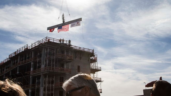 The topping-off ceremony of the $136 million University of Arizona Biosciences Partnership Building in downtown Phoenix, on Thursday March 3, 2016. The Arizona Board of Regents approved funding for the UA's new building in 2014 as part of the University of Arizona College of Medicine – Phoenix campus.