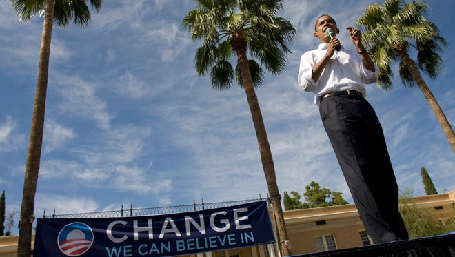 Oct. 19, 2007: The eventual Democratic presidential nominee Barack Obama visits ASU.