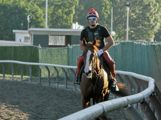 Exercise rider Willie Delgado walks California Chrome back to the gap after a workout at Belmont Park, Friday, June 6, 2014, in Elmont, N.Y. The Kentucky Derby and Preakness Stakes winner will attempt to become the first Triple Crown winner since Affirmed in 1978 when he races in the146th running of the Belmont Stakes horse race on Saturday. (AP Photo/Garry Jones)