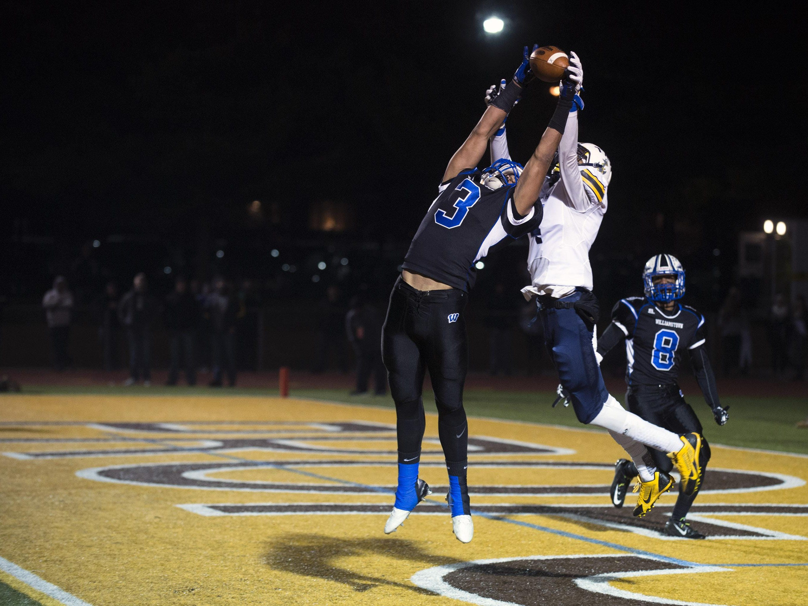 Williamstown's Eric Smith comes up with an interception against Toms River North Saturday, Dec. 5 at Rowan University in Glassboro. Toms River North won 14-7, claiming the South Jersey Group 5 title.