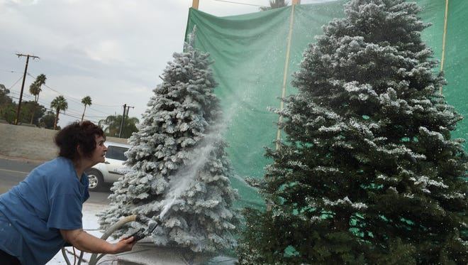 Ramona Liberty flocks a Christmas tree at The Liberty Trees lot on Highway 111 and San Luis Rey in Palm Desert on Wednesday, Dec. 17, 2014.