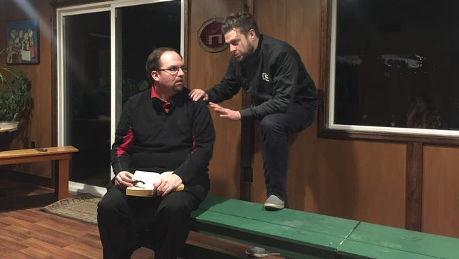 "Patrick Moser (left) and David Ballantyne rehearse for ""A Zoo Story,"" which is part of the Cherry Blossom Theatre Festival's one-act competition."