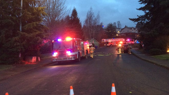 A portion of Popcorn St. NW blocked by Salem Fire officials responding to a report of a gas leak on Wednesday, Dec. 27, 2017.